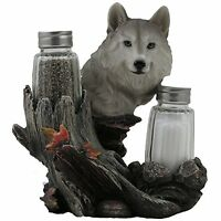 Decorative Gray Wolf Glass Salt And Pepper Shaker Set With Holder Figurine For C on sale