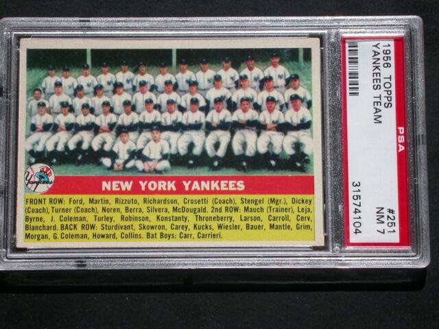 1956 Topps Yankees Team #251 PSA 7 NRMT