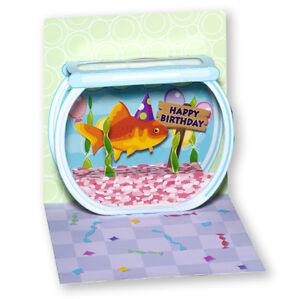 Image Is Loading Goldfish Birthday Pop Up Card Greeting