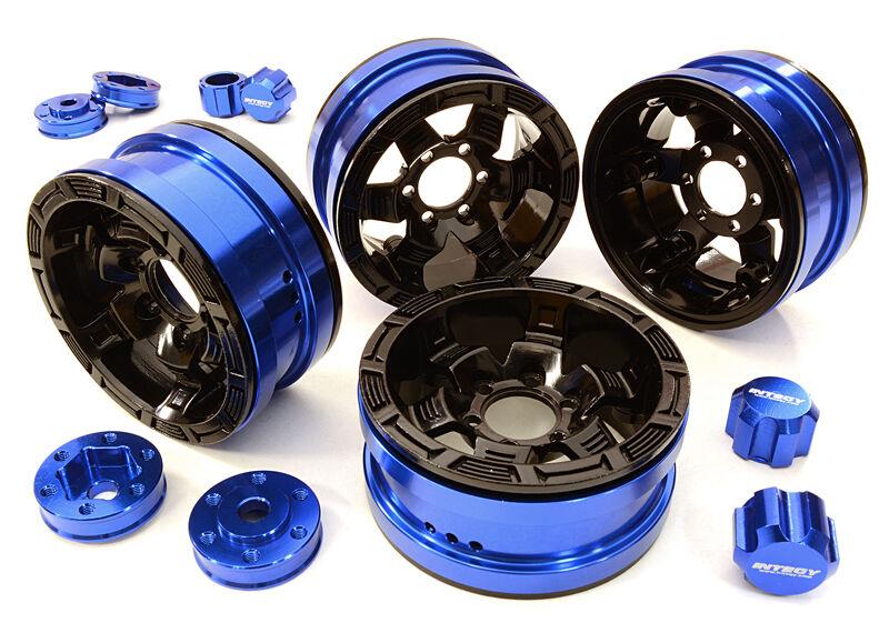 C26877blu Integy Billet 6 Spoke Wheels w 6 Bolt S-Adapters for Most 1.9 Crawler