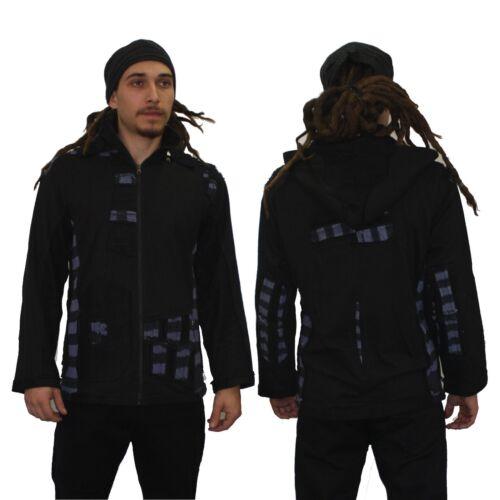 Mens designer hoodie psy trance festival Doof Goa tribal jacket black grey