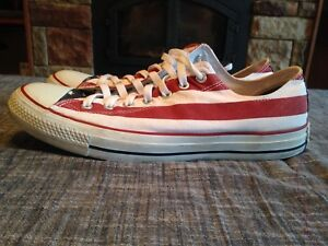 3bbd25d811b8 Converse All Star Mens Shoes Size 12 Canvas Low Top Red White Blue ...