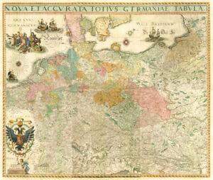 Deutschland-um-1630-Historische-Karte-Reprint