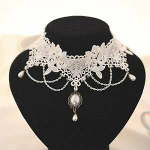 1-pc-Women-White-Lace-Pearl-Pendant-Collar-Chain-Necklace-Choker-for-Wedding
