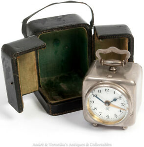 Antique-JAPY-FRERES-French-Cased-Travel-Alarm-Clock-Victorian-Edwardian-Steel