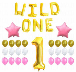 Image Is Loading First Birthday Decoration Pink White Gold Balloons Kit