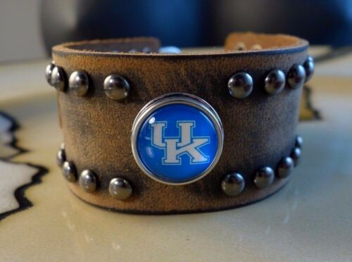 UNIVERSITY OF KENTUCKY lg Brown Leather snap button bracelet gifts for men