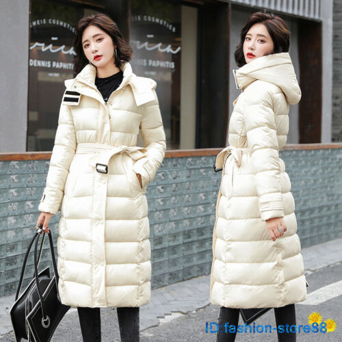 New Slim Women/'s Belt Coat Winter Warm Outwear Long Parka Hooded Quilted Jacket