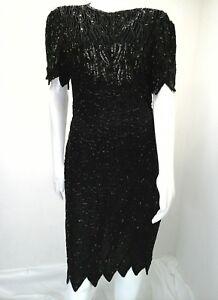 Vintage-Laurence-Kazar-New-York-Beaded-Sequin-Formal-Cocktail-Dress-Size-L