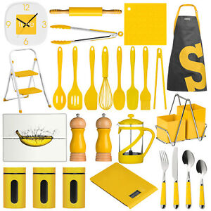 1d193370d Image is loading Yellow-Kitchen-Accessories-Cooking-Utensils-Clock-Chopping- Board-