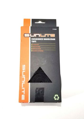 SUNLITE Cushioned Road Bicycle Bike Handlebar Bar Tape w// End Plugs Black NEW