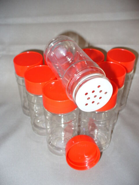 SPICE BOTTLES JARS 4 oz  CLEAR w/Sifter Caps 4oz Lot of 10 FREE US SHIPPING