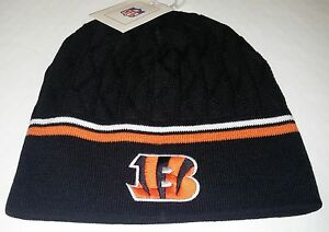 Cincinnati-Bengals-Knit-Beanie-Toque-Winter-Hat-Skull-Cap-NEW-Black-2-stripe