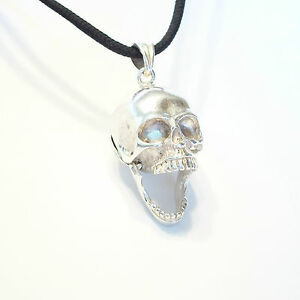 Vintage sterling silver skull pendant with secret compartment 20th image is loading vintage sterling silver skull pendant with secret compartment mozeypictures Image collections
