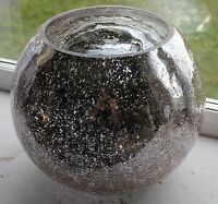 Silver Sparkle With A Hint Of Pink Glass Fish Bowl Vase Flowers Plant Pot
