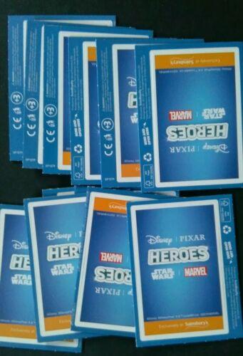 Sainsburys Disney Pixar Star Wars Marvel Heroes Trading Cards 11Packs NEW