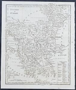 1795-Aaron-Arrowsmith-Original-Antique-Map-Turkey-in-Europe-Greece-to-Moldavia