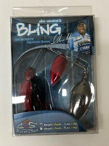Ish-Monroe-BLING-Spinner-Bait-1-2Oz-Fishing-Bass-Black-Nickel-blooded-E35
