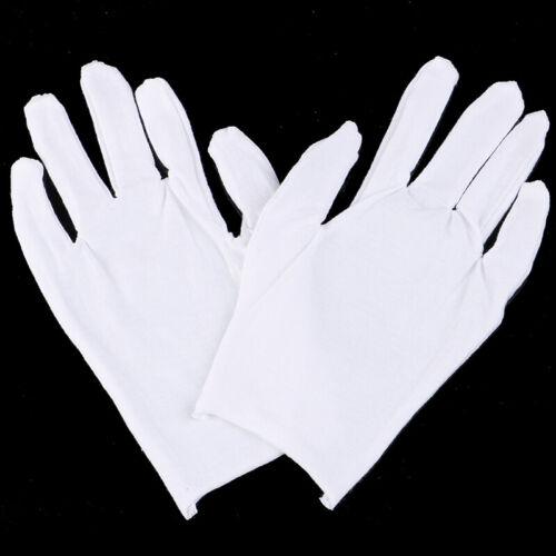 6 paar weiße handschuhe baumwolle weiche dünne münze schmuck silber inspektio Gw