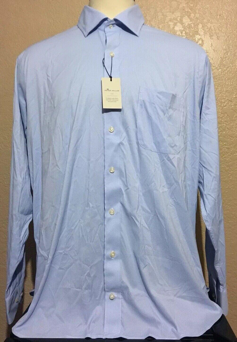 Nuevo Peter Millar Corona  De Hombre Talla 17.5 largo camisa de rendimiento de Verificación Cuadros Azules  despacho de tienda