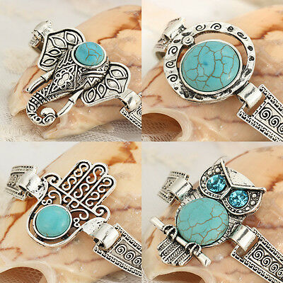 2017 New Blue Stone Bracelet Vintage Silver Plated Cuff Bracelets for Women