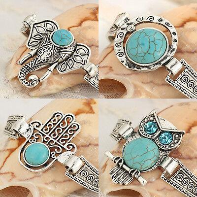 2017 New Blue Stone Bracelet Vintage Silver Plated Cuff Bracelets for Women