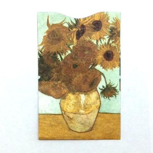 Card Lock RFID Credit Card Protect Sleeves Fine Art Sunflowers Vincent Van Gogh