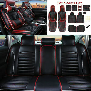 Universal-Black-Leather-Car-5-Seat-Cover-Full-Surround-Breathable-Cushion-Pillow