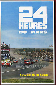 1964 24 Hours Le Mans French Automobile Race Advertisement Vintage Poster