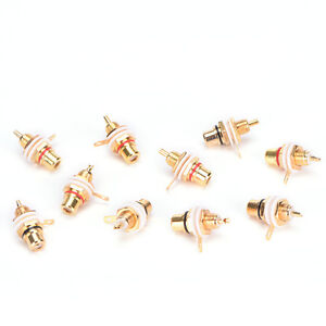 10PCS-RCA-Female-Chassis-Panel-Mount-Jack-Socket-Connector-24K-Gold-Plated-New