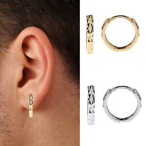 10K-Gold-Mens-Single-Huggie-Hoop-Earring-DC-12mm-Yellow-or-White-1-2-Pair