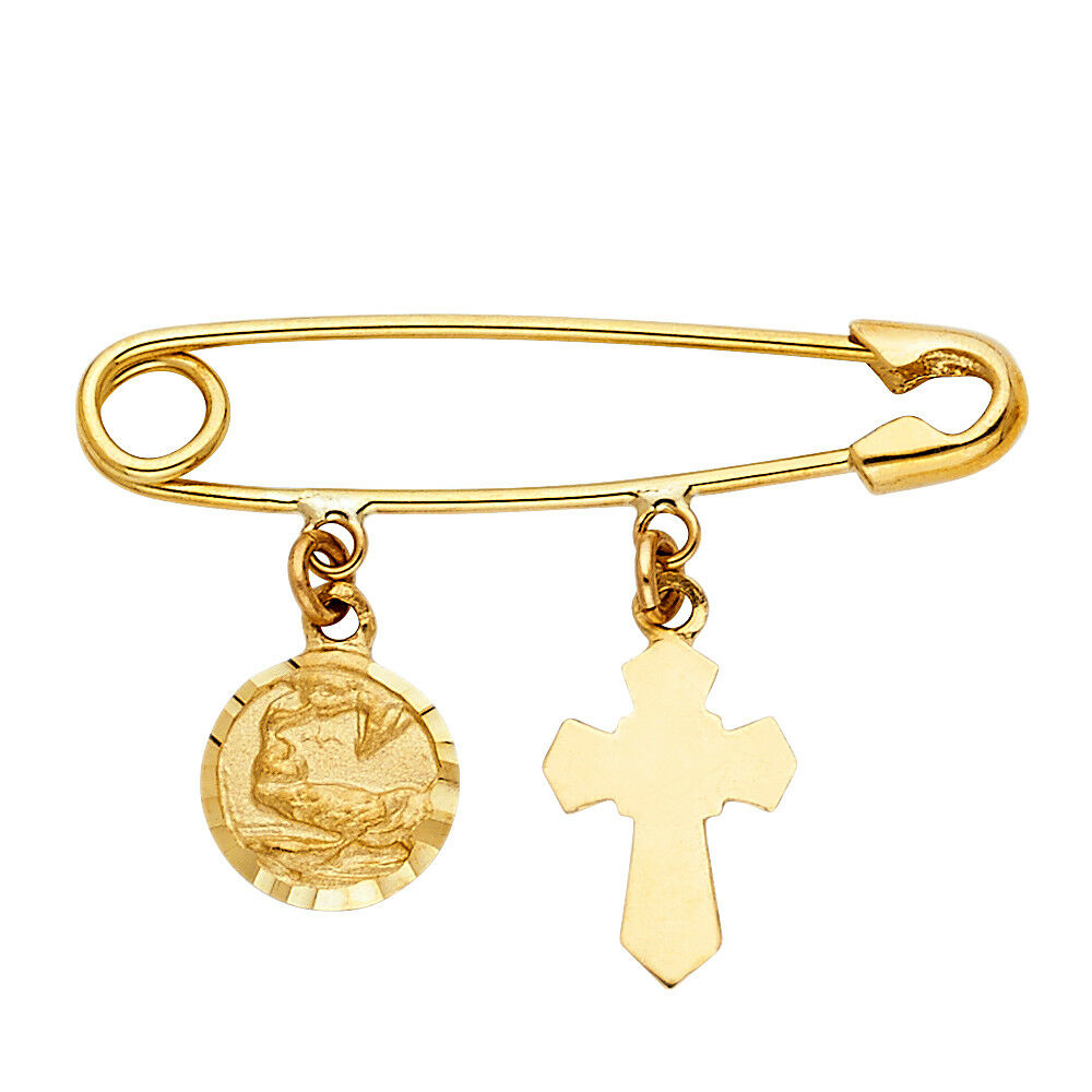 14k Yellow gold Hang On Pin   Clip Charm Pendant  (25mm x 37mm)