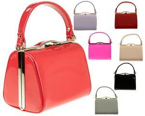 Ladies-Vintage-Patent-Box-Handbag-Clutch-Bag-Top-Handle-Evening-Bag-Purse-K16688