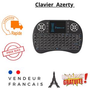 Mini Clavier USB Sans Fil AZERTY rétroéclairé Box Android SMART TV TouchPad