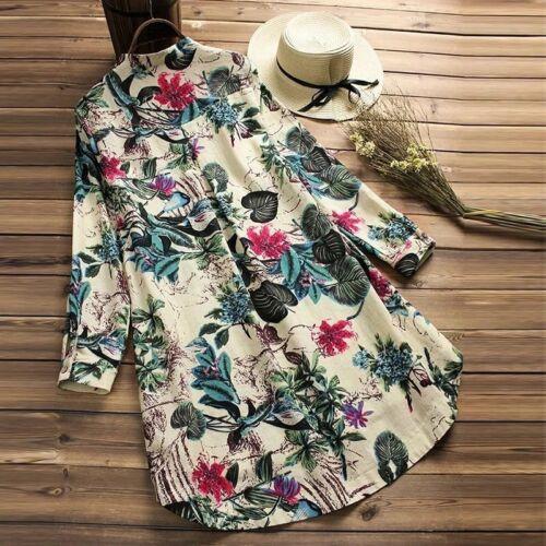 Plus Size UK Women Boho Floral Blouse Tunic Tops Ladies Long Sleeve Loose Shirt