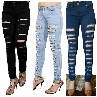 Aufstrebend Women Ladies Stretch Ripped Knee Cut Slim Fit Skinny Denim Jegging Jeans Size Uk In Den Spezifikationen VervollstäNdigen