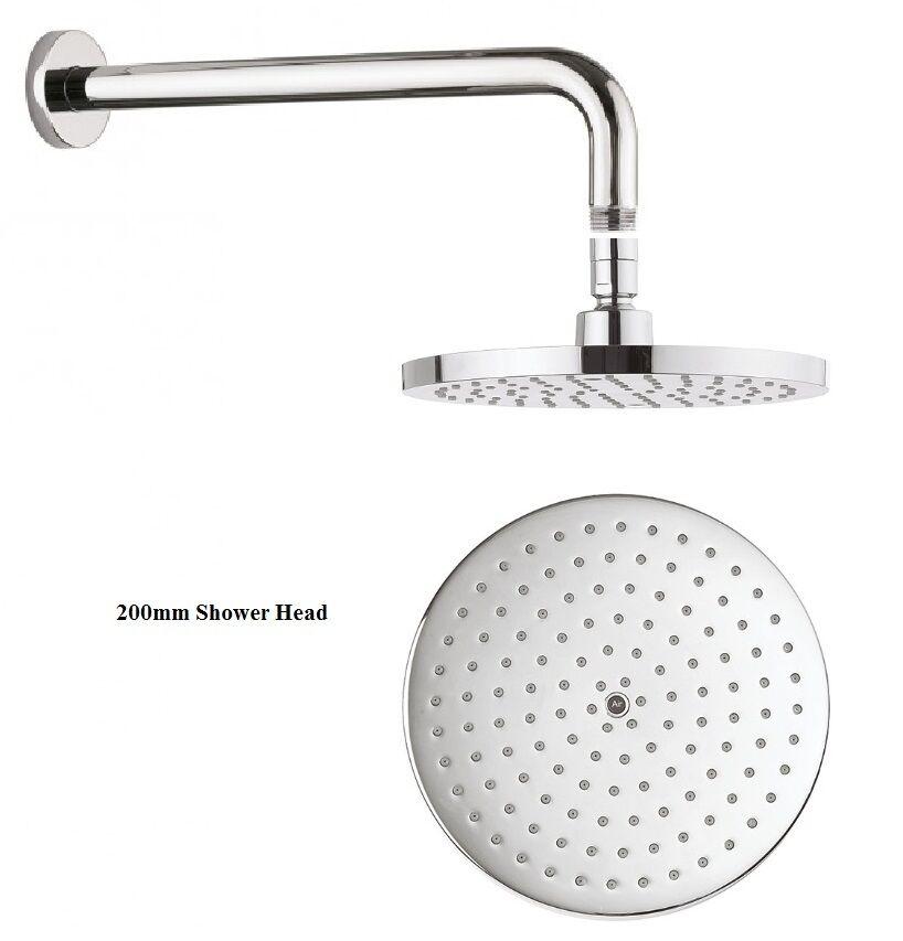 Crosswater 200 mm central salle de bains rond fixe douche de pluie tête & bras