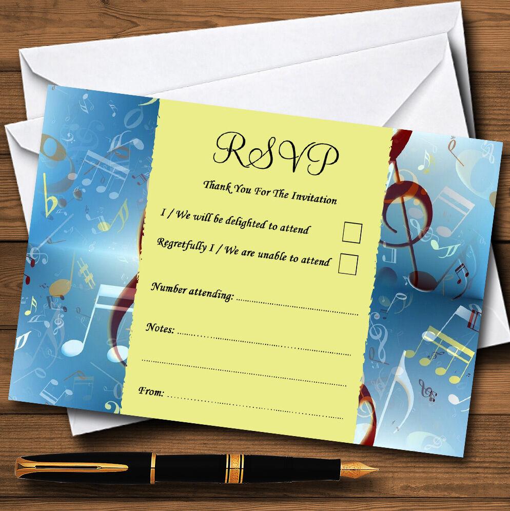 Blau Music Clef Personalised Wedding or Party RSVP Cards