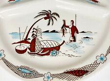 5  TIKI Divided Plates Trader Vic's Polynesian Restaurant Ware Spear Fisherman