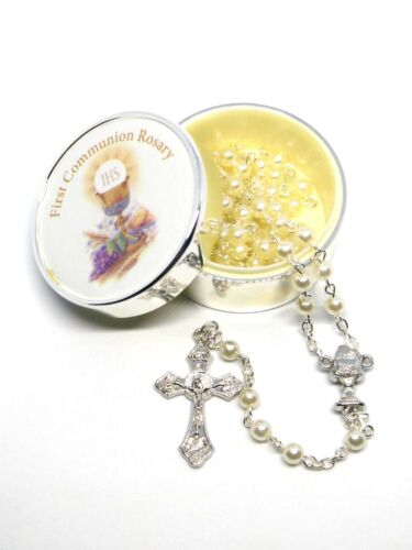 First Holy Communion Rosary in Metal Presentation Box