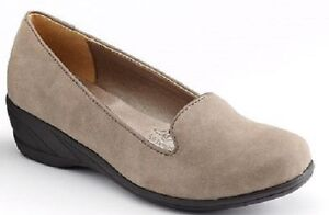 Hush-Puppies-Taupe-Faux-Suede-Soft-Style-Lindzey-Loafer-Wedges-MSRP-65