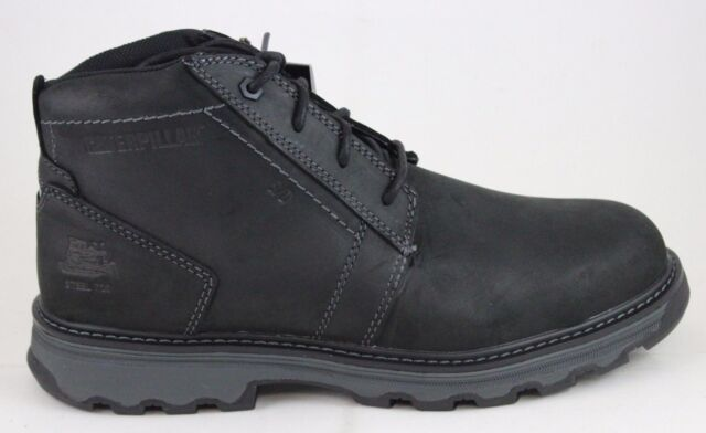 Men's CAT Caterpillar Parker Black Leather Steel Toe Work Boot P90714 Brand New