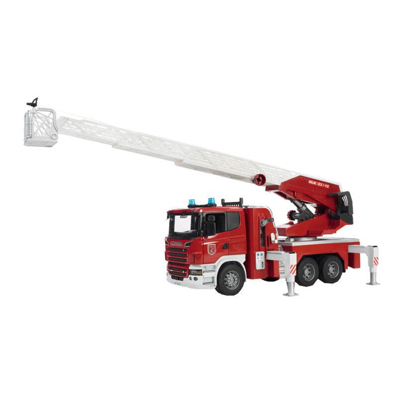 03590 Bruder Scania R-Serie Feuerwehrleiter mit Wasserpumpe Wasserpumpe Wasserpumpe Profi Serie 4a7d4f