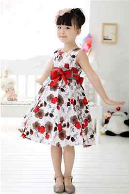 Girls Kids Skirt Children Dress Clothes Flowers Red White Size 3 UpTo 13 Years