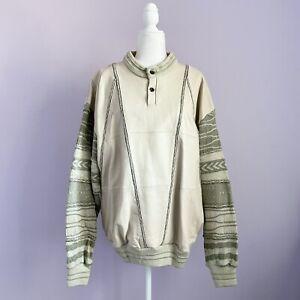 Vintage 90s Sachsen Größe XL Pullover Leder Hip Hop COOGI Bill Cosby Biggie Style 80s