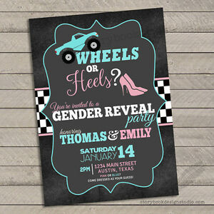 10 Wheels or Heels Gender Reveal Invitations Baby Shower Printed