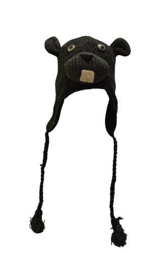 Fatto a mano a maglia 100/% lana unisex adulto Uomo Animale Carattere Invernale Cappelli Nepal