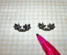 Miniature High Quality Antiqued Leaf Drawer Handles Pulls (2): DOLLHOUSE 1/12