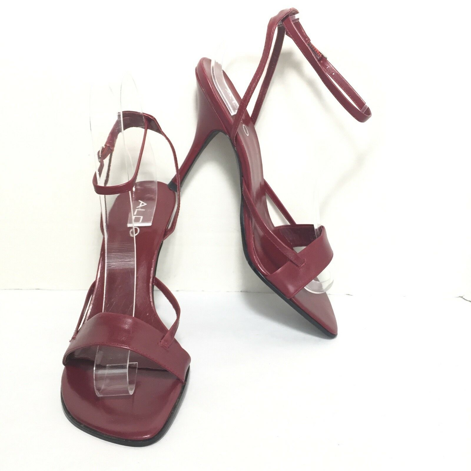 ALDO Women's Maroon Red Leather Ankle Strap High Heel Sandals Size US 6.5 M