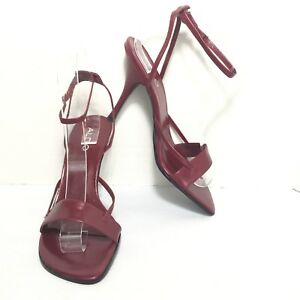 26eab4ab3675 ALDO Women s Maroon Red Leather Ankle Strap High Heel Sandals Size ...
